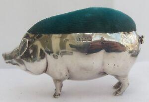 LOVELY EDWARDIAN ENGLISH SILVER PIG PIN CUSHION  c.1908