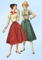 1950s Vintage Simplicity Sewing Pattern 1736 Simple Skirt and Blouse Size 12 32B