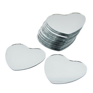 20pcs Heart Mosaic Glass Mirror Sticker Wall Decor Pasteable Mirrors Home DY US