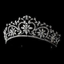 # 8828 Stunning Silver Clear Crystal Floral Bridal Tiara