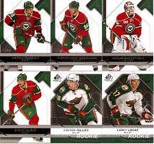 2008-09 UD Upper Deck SP Game Used Minnesota Wild Team Set w/ RC's (6)