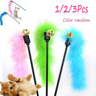 2/3Pcs New Cats Pet Teaser Feather Interactive Fun Stick Toy Wire Chaser Wand