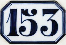 Antique French house number 153 large ceramic porcelain bone china Ginori C19th