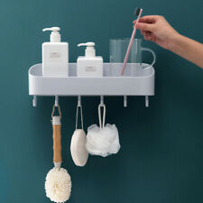 Kitchen Storage Rack Drying Shelf With 6 Hooks Punch Free Organizer Bracket XS