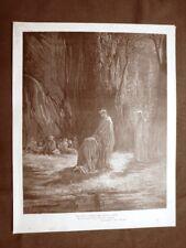 Incisione Gustave Dorè del 1890 Sordello di Mantova Divina Commedia Purgatorio