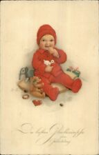 German Greeting Child Red Hat & Outfit w/ Toys Teddy Bear Signed FB