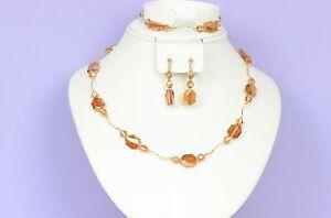 14k Yellow or White Gold Genuine Swarovski Crystal Beads Necklace Set