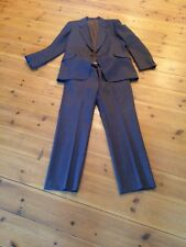 Vintage Mens Suit In Brown Check Jacket 40/42 And Trousers 34