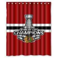 "Personalized Chicago Blackhawks Hockey Waterproof  60"" x 72"" Shower Curtain Bath"