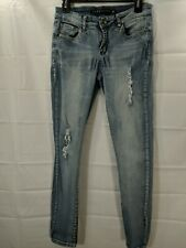 TINSELTOWN Juniors Light Wash Distressed Mid Rise Stretch Jeggings size 5