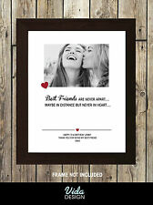 best friend personalised print, Birthday, Friendship quote, photo print A4 Print