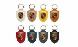 NEW GENUINE PORSCHE LEATHER CREST KEY RING FOB CHAIN DIFFERENT COLOURS 1PCS