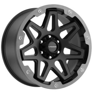 "Vision 416 Se7en 18x9 6x5.5"" +12mm Black/Gunmetal Wheel Rim 18"" Inch"