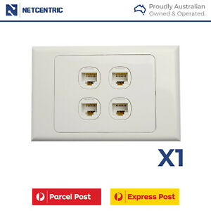 4 Gang Wallplate with 4 Cat6 Ports Jacks SET Clipsal Compatible