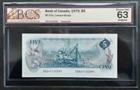 1972 Bank of Canada $5 Dollars Lawson & Bouey BCS CH.UNC-63 Original BC-48b