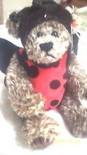 TY bugsy always a lady movable legs  teddy bear with lady bug costume adorable