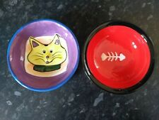 2x ceramic cat bowls,food/water dishes 13cm, nice designs, two cat bowls,