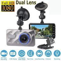 """4"""" HD 1080p Dual Lens voiture Dash Cam Vidéo enregistreur DVR Caméra G-sensor FR"""