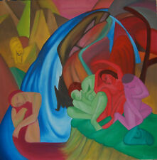 """Original Oil Painting """"THE WATERFALL"""" on Canvas 36"""" x 36"""" (Art/Abstract/Picasso)"""