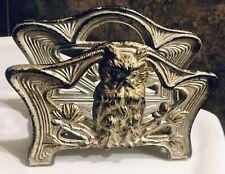 Vintage Art Nouveau Owl Letter / Napkin Holder Molded Cast Metal #514
