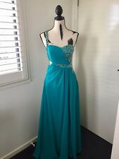 Long Blue Evening Formal Dress with Leg Split and Sequins Design.