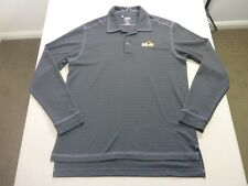 087 MENS NWOT ADIDAS GOLF CLIMALITE CHAR STRIPED L/S POLO TOP MEDM $110 RRP.