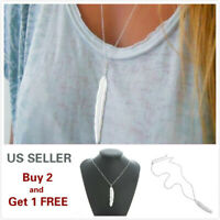Fashion Women Silver Feather Pendant Long Chain Sweater Necklace Gift A