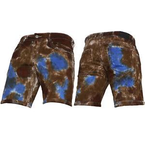 New Mens TYE DYE Stretch VON DENIM Summer Gym Casual Knee Length Designer Shorts