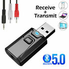 Mini USB Bluetooth 5.0 Transmitter Receiver Stereo Adapter 3.5mm AUX For-ca