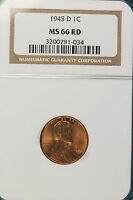 1945-D NGC MS66 RED Lincoln Wheat Cent!! #HI