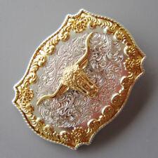 Mens Bull Head  Western Rodeo Golden Belt Buckle Accessories