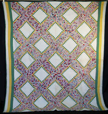 """VINTAGE QUILT 1930s STEPS IN THE FLOWER GARDEN HAND SEWN SMALL PIECES 90"""" x 80"""""""