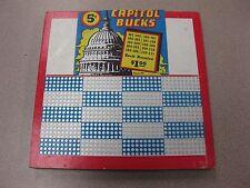 Vintage Punch Board Capitol Bucks .5 Per Hole Gambling Device #8041 Box#Pb-15