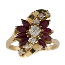Ruby and Diamond Vintage 14k Yellow Gold Cocktail Ring Size 9