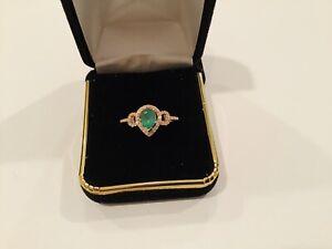 Emerald, 1ct, Tear Drop ,diamonds 10k Rose Gold Gemstone Ring,size 7