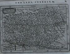 Original Antique Map, France, Rhône, LOIRE, Lyon, Mercator/Jansson, 1651
