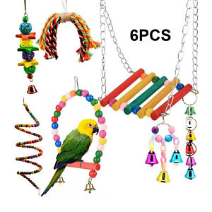 6PCS Bird Toys Parrot Swing Toys Chewing Hanging Bell Cockatiel Cage Toy Set AU