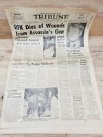 "Newspaper ""RFK DIES"" San Gabriel CA Daily Tribune 6/6/1968 ~ Robert Kennedy"