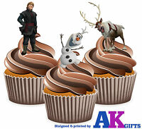 PRECUT Frozen Kristoff Olaf 12 Edible Cupcake Toppers Cake Decoration Birthday