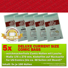 500x Comic Concept Deluxe Current Size Comic Bags Hüllen m. Lasche 176 x 270 mm