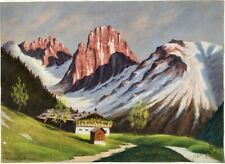 Antique1917 German Alps Mountain Landscape Pastel Painting Signed Mystery Artist