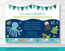 Under the Sea Octopus Crab Turtle Nautical Birthday Invitation EDITABLE PDF