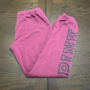 PINK Victoria Secret Joggers Sweatpants Small S Burgundy Elastic Drawstring