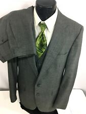 3 pc Botany 500 Men Gray Blue Pin Stripe MoD Wool Suit & Vest 42 Xl Pants 36/34