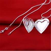 Wholesale Charm 925 Silver Heart Necklace Locket Photo Pendant Wedding Jewelry