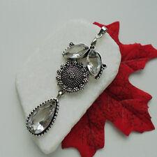 Strass Fiore FIORITURA nostalgica elegante glamour Amuleto Ciondolo, Argento Placcato