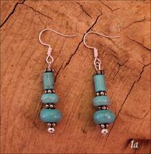 Western Turquoise Pierced Hook Cowgirl Tribal Boho Earrings - 1a