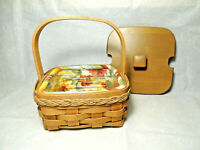 LONGABERGER 2010 Hostess Appreciation Basket w Liner Protector and Wood Lid EUC