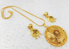 South Indian Jewelry Ethnic Gold Plated Necklace Earrings 22k Chain Pendant Set