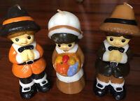 "Lot Of 3 VTG Thanksgiving Candles Pilgrims Puritans 5.5""-5.75"" Harvest Unused"